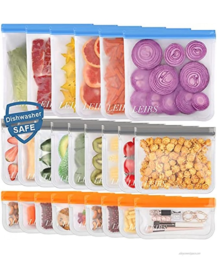 Dishwasher Safe Reusable Storage Bags Extra Thick Reusable Food Bags BPA Free Leakproof Reusable Freezer Bags 24 Pack 6 Gallon 9 Snack 9 Sandwich Bags