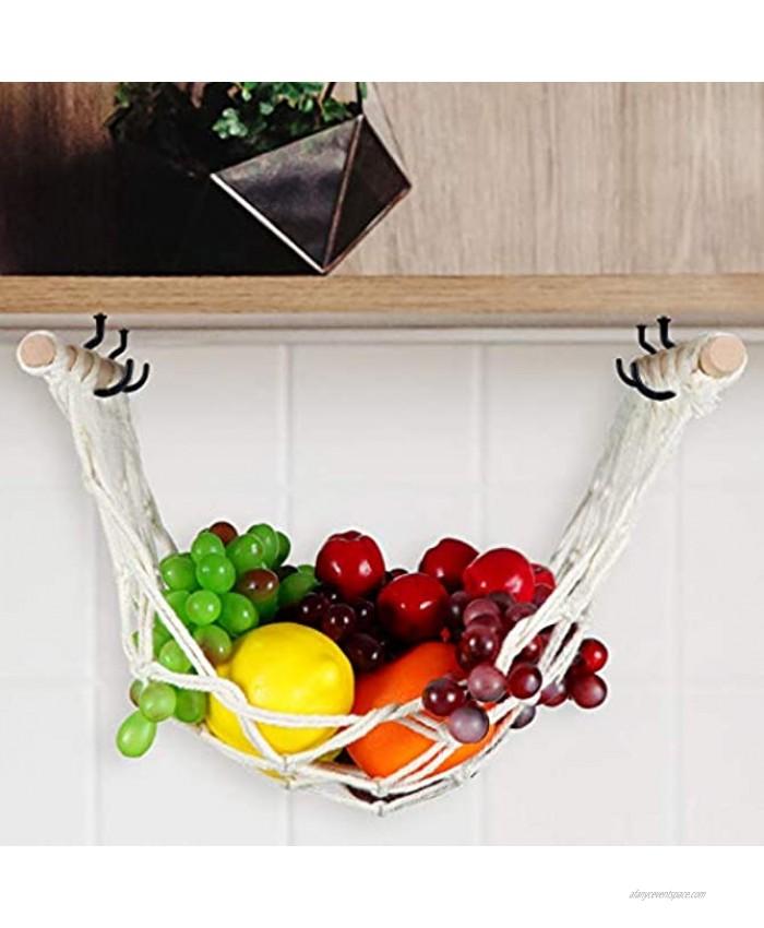 Macrame Fruit Vegetable and Fruit Hammock Bohemian Handwoven Hammocks Hanging Kitchen Produce Storage Kitchen Counter Space Saving Handmade Decor for Boho Themed Home 1 Piece