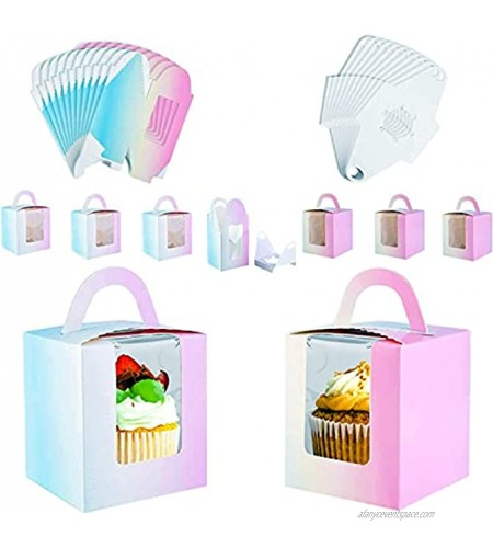 Pajaver 20Pcs Cupcake Boxes Individual,Cupcake Containers with Clear Window and Handle,Cupcake Boxes for Biscuits Candies and Pastries,Birthday Party Wedding Gift Boxes