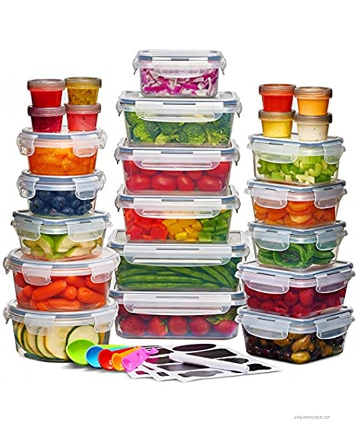 24 Pack Airtight Food Storage Container Set BPA Free Clear Plastic Kitchen and Pantry Organization Meal Prep Lunch Container with Durable Leak Proof Lids Labels Marker & Spoon Set