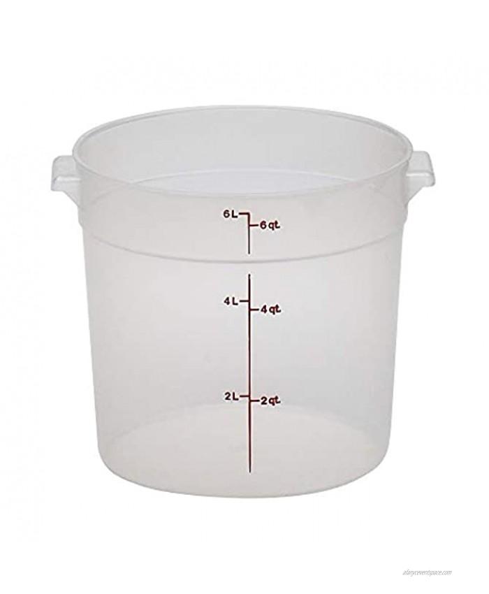 Cambro RFS6PP190 Camwear 6-Quart Round Food Storage Container Polypropylene Translucent NSF