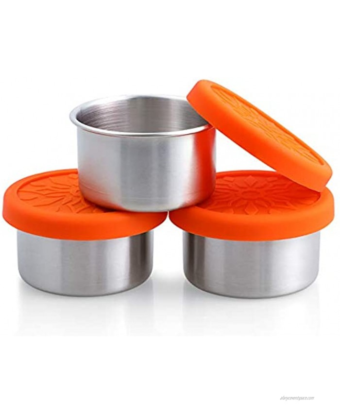 SUKKI Stainless Steel Condiment Containers 3 x 3.4oz Salad Dressing Containers with Food Grade and Leakproof Silicone Lids for Snacks Desserts Souffle Baby Food