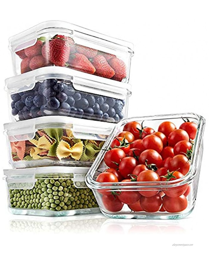 Superior Glass Food Storage Containers 10 Piece Stackable Glass Meal-prep Containers -Newly Innovated Hinged BPA-Free 100% Leakproof Locking Lids w  Air Hole Freezer-to-Oven-Safe -NutriChef NCCLX5