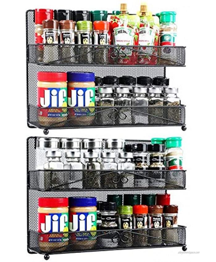 2 Pack 2-Tier Wall Mount  Desk Spice Rack Organizer for Cabinet Pantry Door Super Wide Hanging  Countertop Spice Shelf Storage