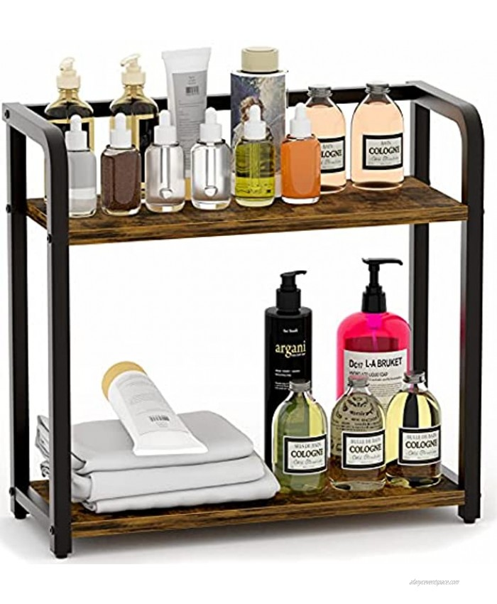EKNITEY Spice Rack Organizer for Countertop Bathroom counter Organizer 2 Tier Small Spice Shelf Standing Seasoning Rack Wooden Tabletop Storage Shelves for Kitchen Bathroom Bedroom and Office Rustic Brown