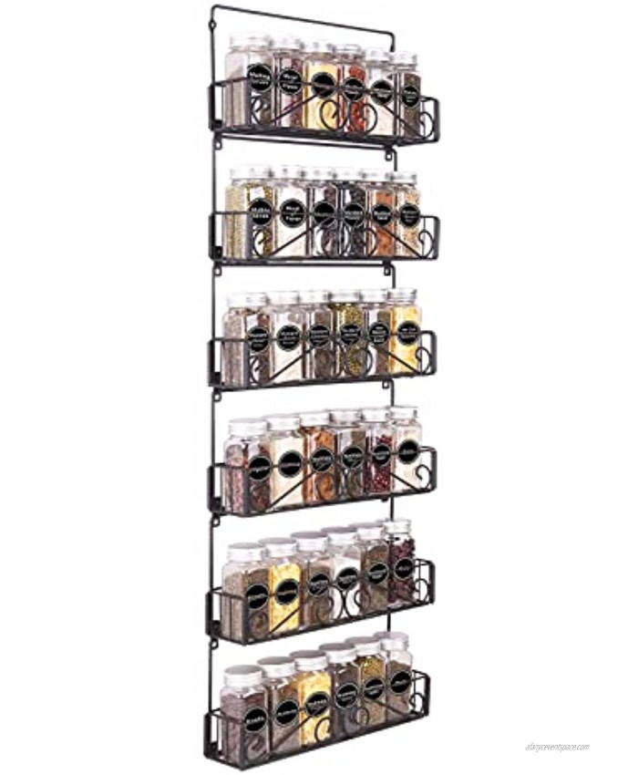 SWOMMOLY Wall Mount Spice Rack Organizer 6 Tier Hanging Spice Racks Stackable Foldable Spice Storage Shelf Black Medium. Perfect for Wall Cupboard or Pantry Door