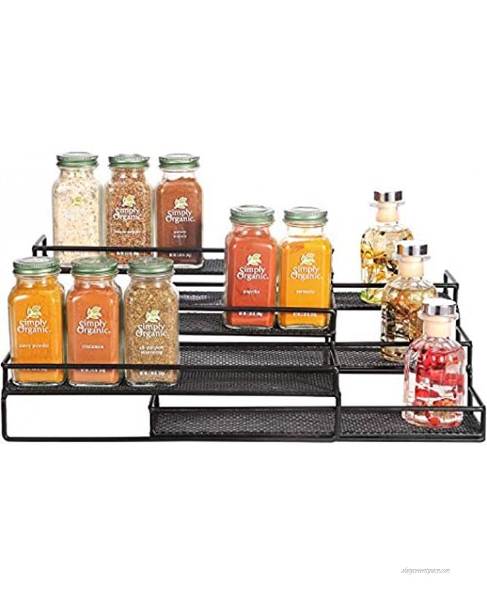 "Urban Deco 3 Tier Spice Rack Expandable Spice Rack Organizer for Cabinet Metal Kitchen Cabinet Organizer and Storage Spice Organizer with Protection Railing Step Shelf 9.6""-23.6"" Width Black"