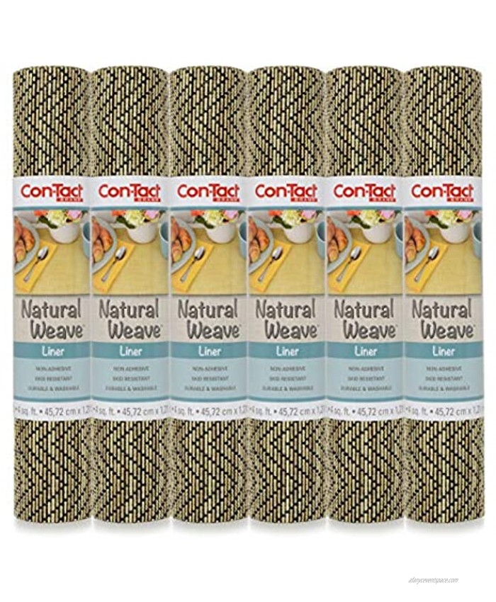 Con-Tact Brand Natural Weave Non-Adhesive Contact Shelf and Drawer Liner 12 x 4' Zig Zag Black Ivory 6 Rolls