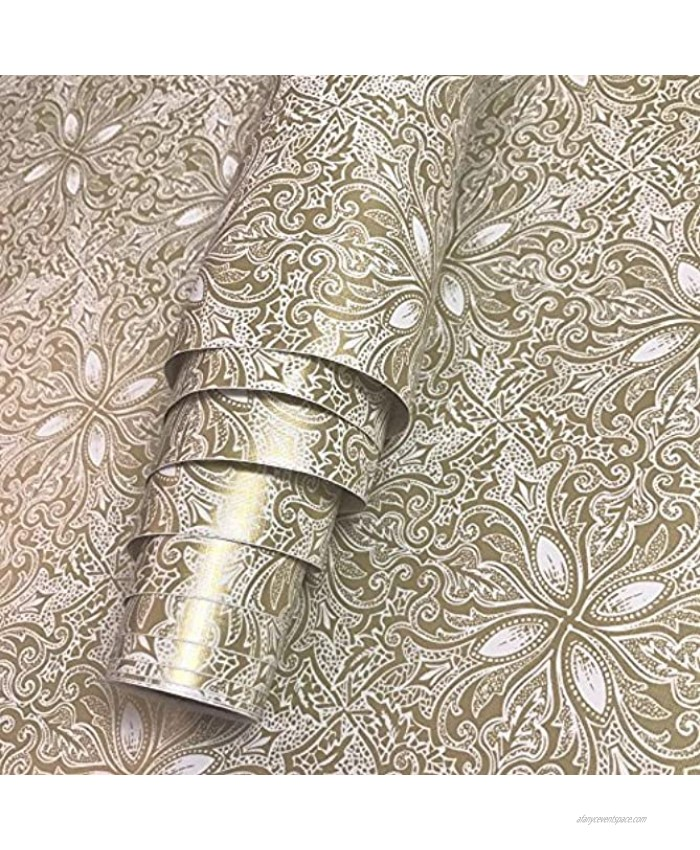 Decorative Paper Self Adhesive Shelf Drawer Liner Sticker 17.7 inch by 9.8 Feet Vintage Champagne