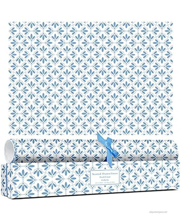 LA BELLEFÉE Scented Drawer Liners 6-Sheets Drawer Paper Liner Fresh Linen Scent Set Summer Gifts Liner for Shelf Cabinet Dresser Closet Shoe Chest Vanity