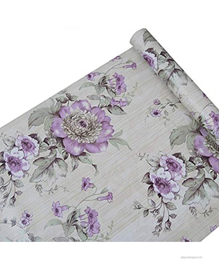 Peel and Stick Decorative Purple Peony Floral Shelf Liner Contact Paper for Kitchen Cabinets Dresser Drawer Refrigerator Table Pantry Closet Vanity Desk Wall Furniture Decal Sticker 17.7x78.7 Inches
