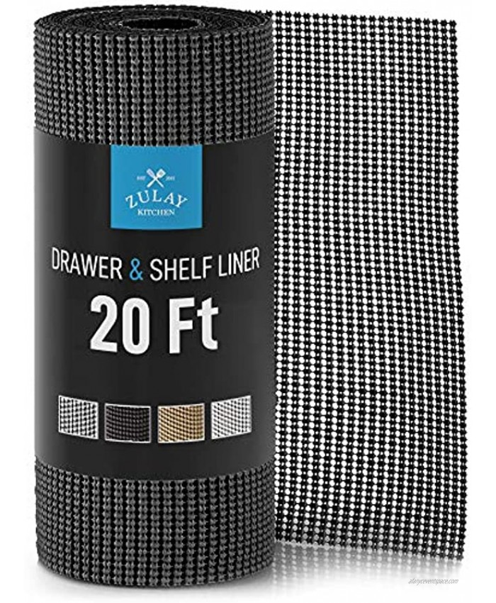 Zulay 12 Inch x 20 FT Drawer & Shelf Liner Non Adhesive Drawer Liner Protective Shelf Liner Non Slip for Cabinets Storage Kitchen and Tables Black