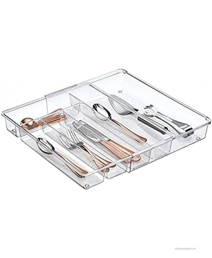 mDesign Adjustable Expandable Plastic Kitchen Cabinet Drawer Storage Organizer Tray for Storing Organizing Cutlery Spoons Cooking Utensils Gadgets 2 High Clear