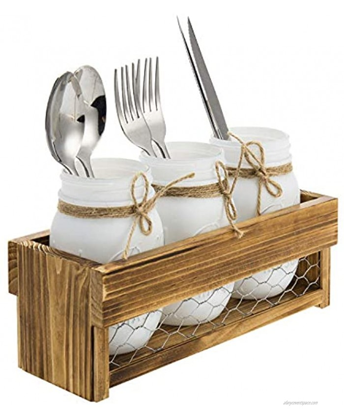 MyGift Rustic Burnt Brown Wood & Chicken Wire Tabletop Dining Utensil Flatware Serving Holder Rack with 3 Vintage White Mason Jars