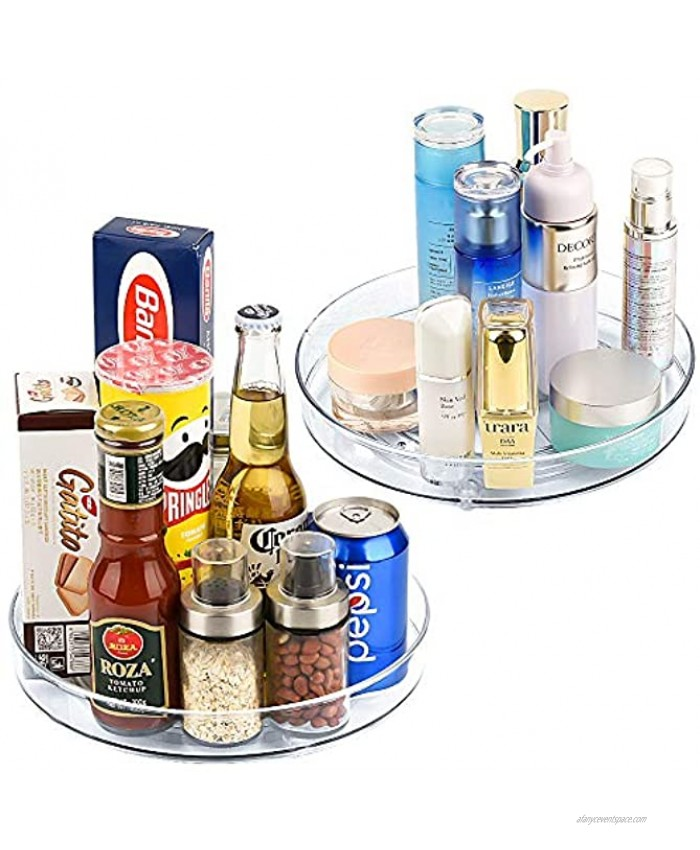 Empaxum 2 Pack Lazy Susan Cabinet Organizer 10.5 Clear Plastic Turntable Organizer Rotating Spice Rack Kitchen Storage Cosmetic Makeup Organizers for Pantry Countertop Fridge Vanity Bathroom
