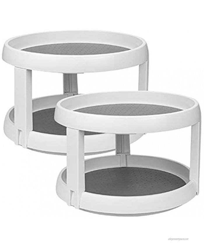 Lawei 2 Pack 2 Tier Lazy Susans Turntable 10 Inch Pantry Cabinet Lazy Susan Storage Turntable Rotating Spice Rack for Spices Condiments Baking