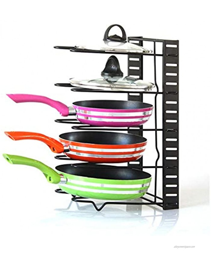 Jumper Joo Expandable Pot and Pan Organizers Rack,5+ Pans and Pots Lid Organizer Rack Holder Kitchen Cabinet Pantry Bakeware Organizer Rack Holder with 5 Adjustable Compartments Black