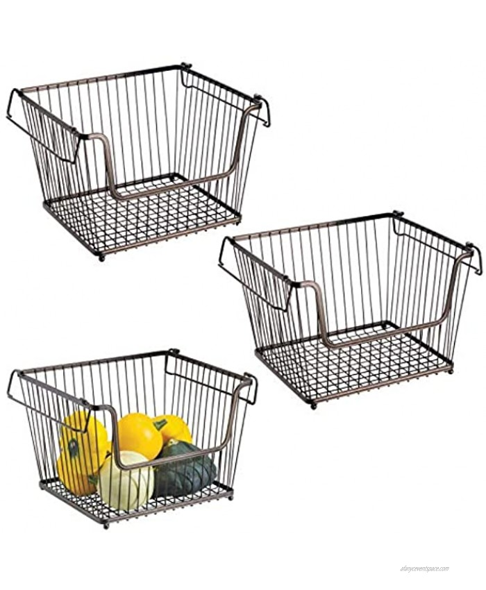 mDesign Modern Stackable Metal Food Storage Organizer Bin Basket with Handles Open Front for Kitchen Cabinets Pantry Closets Bedrooms Bathrooms Large 3 Pack Bronze