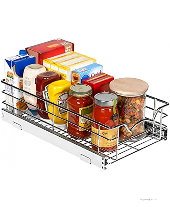 """Pantry Pull Out Basket Cabinet Organizer 5"""" High – Heavy Duty Slide-Out Drawer- Sliding Shelf for Organizing Cans jars Canisters Pots Pans and Much More Basket Size 11W x 20 3 4D x 5H"""