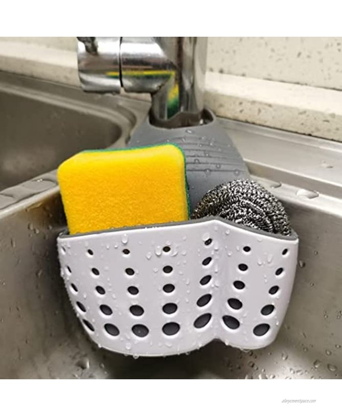 Sink Caddy Sponge Holder with Adjustable Strap ,Silicone Sponge Caddy with Drain Holes for Drying