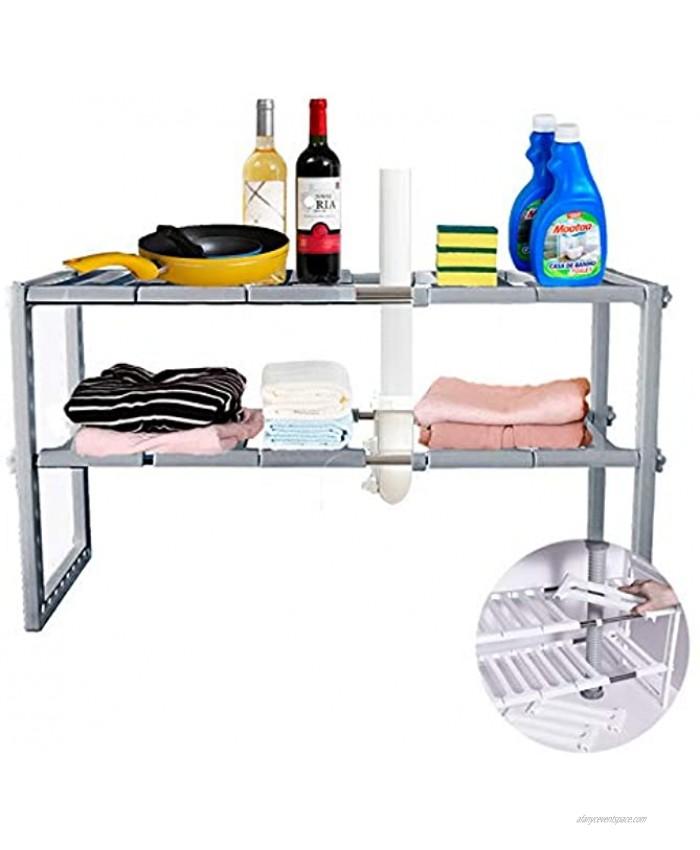 Yancorp Under Sink 2-Tier Expandable Shelf Organizer Rack Under Sink Organizers and Storage Adjustable Shelf Organizer Rack for Kitchen Bathroom(Grey
