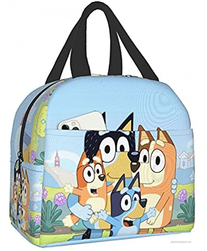 Keiou Bluey Portable Insulated Lunch Box Lunch Bag for Girls Travel Picnic Work School Fishing