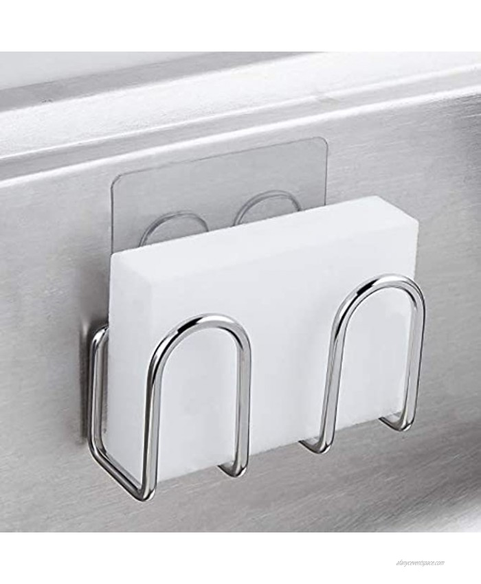 Sponge Holder Sink Caddy for Kitchen Accessories No Drilling Adhesive ,Rustproof SUS304 Stainless Steel