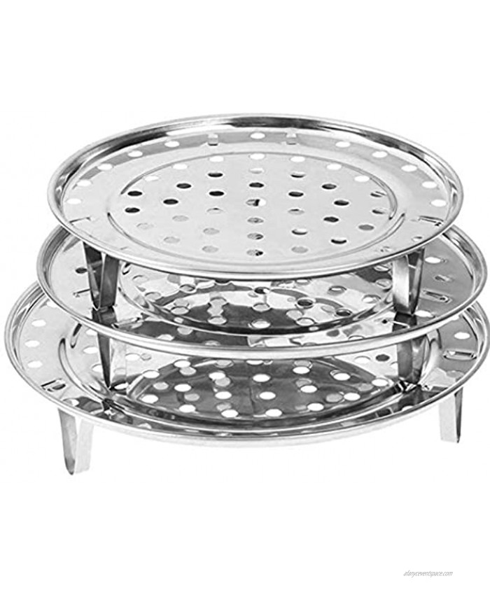 NRDBEEE Round Stainless Steel Rack 7.6 8.5 9.33 Inch Diameter Steaming Stand Canner Canning Racks Steamer Insert Stock Pot Steaming Tray Stand Pressure Cooker Cooking Toast Bread Salad 3 Pack