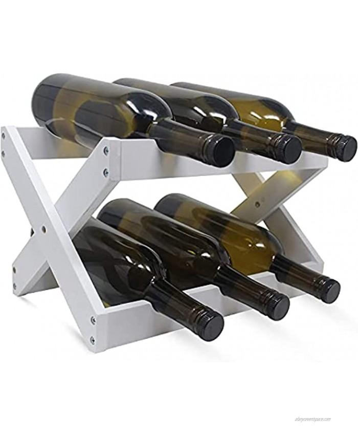 Foldable Bamboo Wine Rack ~ Counter Wooden Wine Bottle Storage ~ Elegant Wine Holder for Kitchen Bar Cabinets ~ Holds 6 Bottles White 1