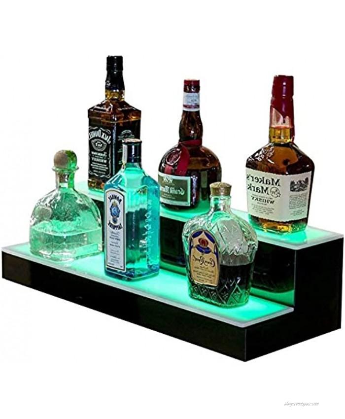 Goodyo Liquor Bottle Display Shelf LED Lighted Bar Shelf 2 Step 16 Length,Multiple Colors