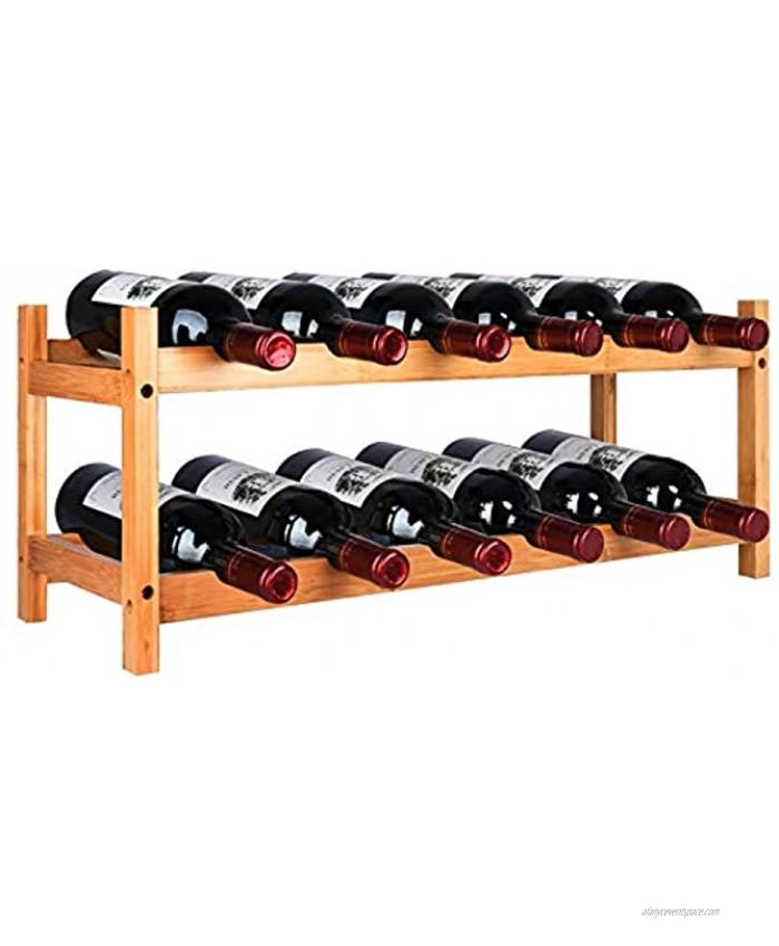 Riipoo Wine Rack Countertop Wine Rack Wine Storage Shelf 12 Bottles Bamboo Wine Holder 2 Tier