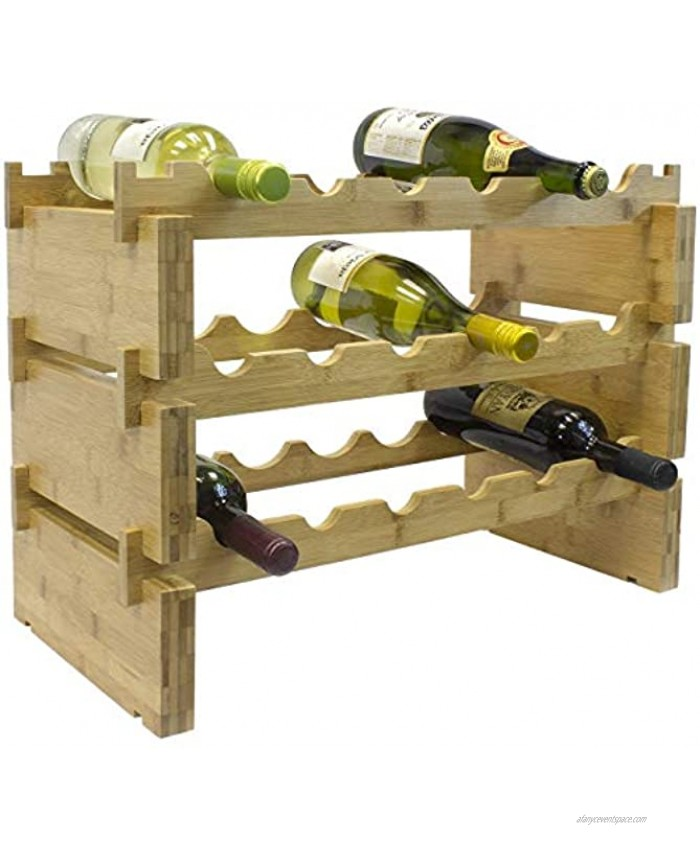 Sorbus Stackable Bamboo Wine Rack — Classic Style Wine Racks for Bottles — Perfect for Bar Wine Cellar Basement Cabinet Pantry etc. 3-Tier