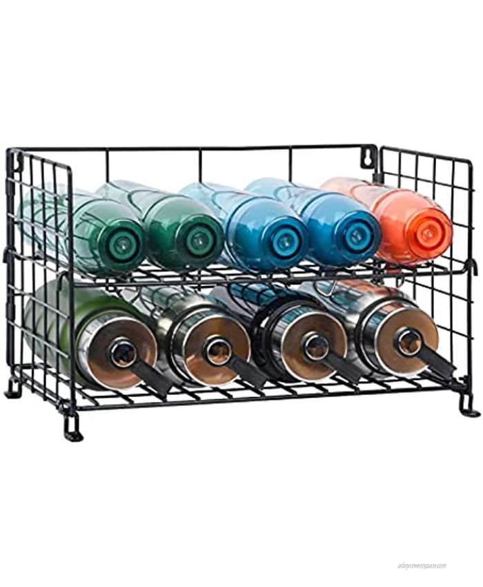 X-cosrack Adjustable Water Bottle Organizer,2-Tier Extended Wall-Mounted Water Bottle Holder Stackable Water Bottle Storage Rack for Kitchen Countertops,Pantry Cabinet,Black,2-Tier Large