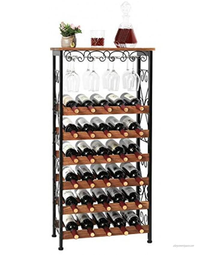 X-cosrack Rustic 30 Bottles Floor Wine Rack Shelf with Wine Glass Holder Rack Freestanding Wobble-Free 6 Tier Wine Bottle Organizer Display Storage Stand for Kitchen Pantry Patent Pending