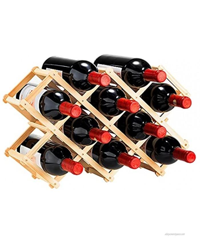 XKXKKE Wine Rack Foldable Wood Wine Rack 10 Bottles Countertop Free Stand Wine Storage Holder Protector Display Shelf for Home Kitchen Bar Cabinets