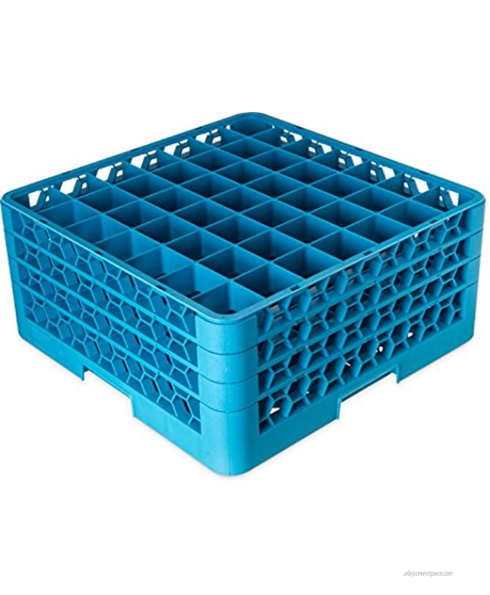 Carlisle RG49-314 OptiClean 49 Compartment Glass Rack with 3 Extenders 2-3 8 Compartments Blue Pack of 2