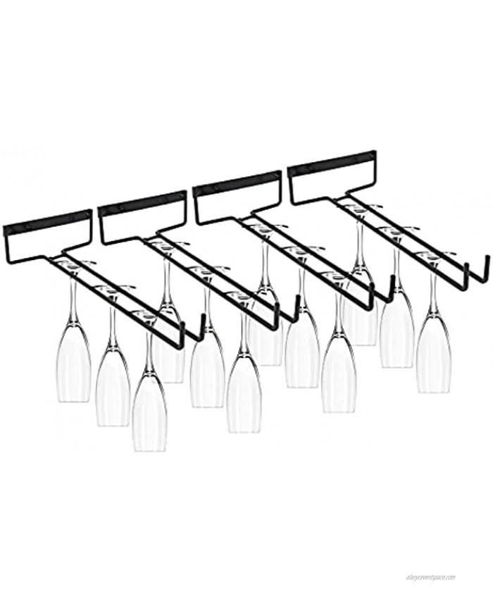 HOMOKUS [Set of 4]Stemware Wine Glass Rack Wall Mountable Heavy Duty Thick Wrought Iron Black Wine Glasses Holder Storage Hanger Organizer for Kitchen or Bar