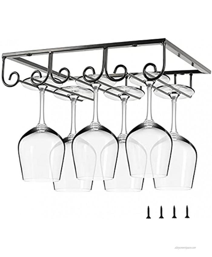 Lifancy Hemming Hanging Wine Glass Rack Under Cabinet Stemware Rack Wine Glass Holder Storage for Cabinet Kitchen Bar Black 3 Rows