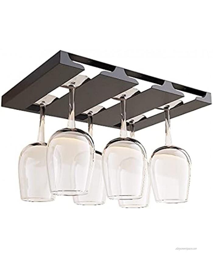 SIMVE Wine Glass Holder Under Shelf,Stainless Steel Stemware Rack for Cabinet,Glassware Drying Storage Hanger,Metal Hanging Organizer for Kitchen,Bar or Restaurant,Screw Mount,Matte Black,3 Row