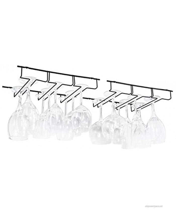 Wallniture Napa Under Cabinet Stemware Rack 13.5 Wine Glasses Holder Farmhouse Kitchen Decor Black Set of 2