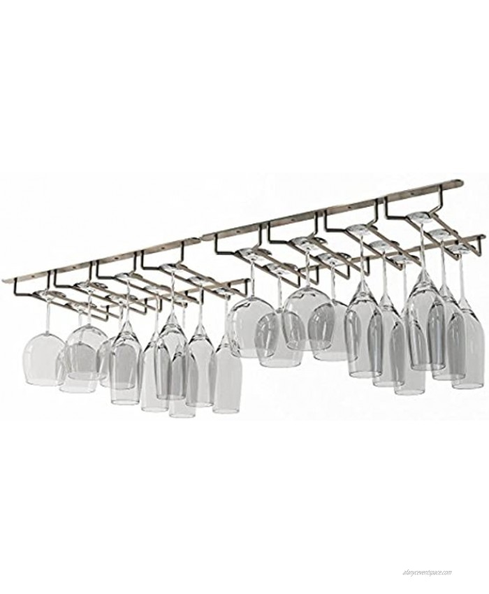 Wallniture Pinot Wine Glass Holder Under Cabinet Organization and Storage for Kitchen Decor 17 Set of 2 Oil Rubbed