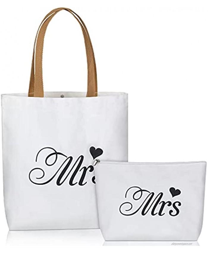 2021 Bride Tote Bag with Makeup Bag Bridal Bag Bride Beach Bag Canvas Bride Bag Bridal Shower Gift for Engagement Wedding Party Bachelorette Party Honeymoon EssentialsMrs Style