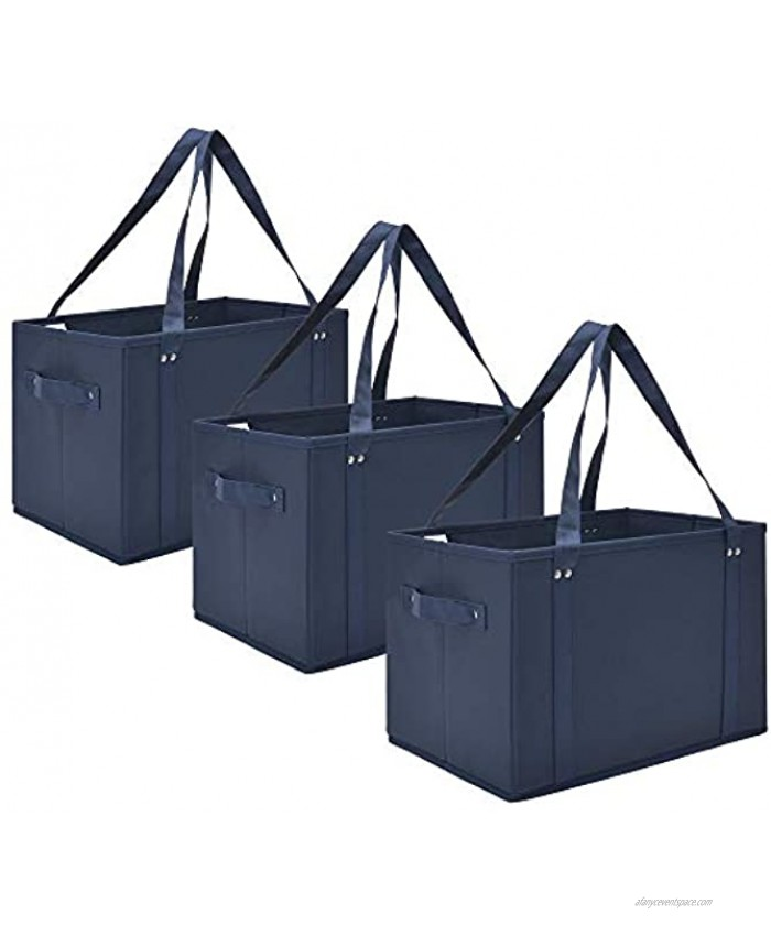 GRANNY SAYS Reusable Grocery Bags Collapsible Shopping Tote Bags Eco-Friendly Shopping Cart Bags Washable Large Storage Bins Heavy Duty Canvas Shopping Bags with Handles & Straps Navy 3-Pack