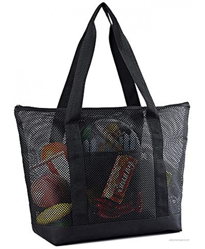 Mesh Beach Bags Grocery Produce Tote Bag with Zipper & Pockets for Gym Picnic Shopping or Travel