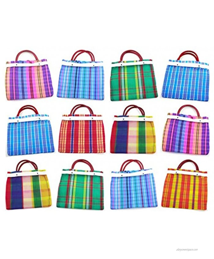 Set of 24 Small Mexican Tote Mercado Bags 7.5 inch by 7.5 inch Assorted Colors Mini Mexican Mercado Candy Bags High Thread Mesh