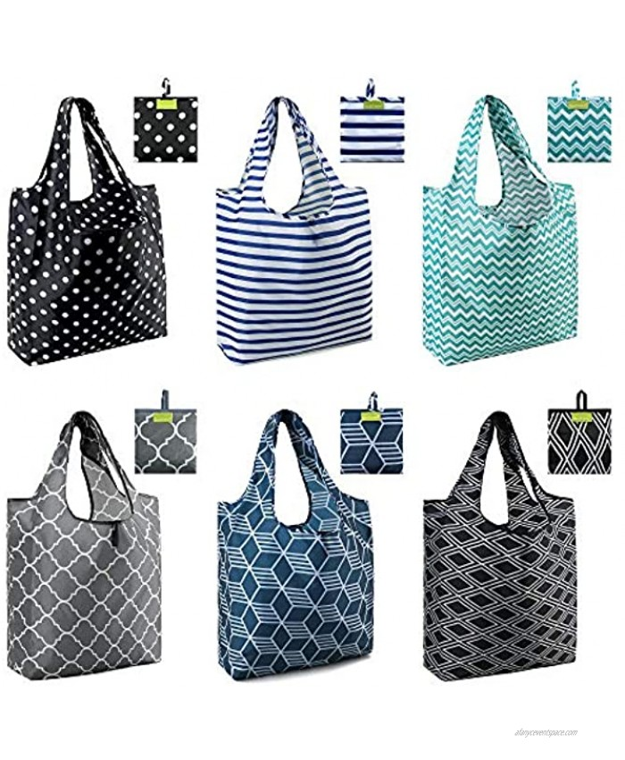 Shopping Bags Reusable Grocery Tote Bags 6 Pack XLarge 50LBS Ripstop Geometric Fashion Recycling Bags with Pouch Bulk Waterproof Machine Washable Nylon Bags Black Gray Blue Navy Teal