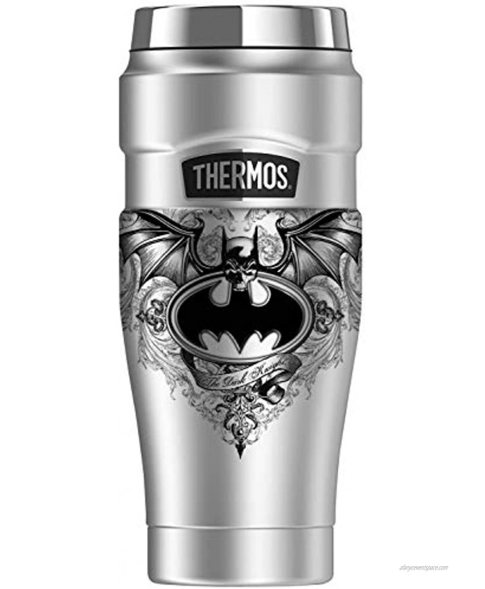 Batman Sublimated Winged Logo THERMOS STAINLESS KING Stainless Steel Travel Tumbler Vacuum insulated & Double Wall 16oz