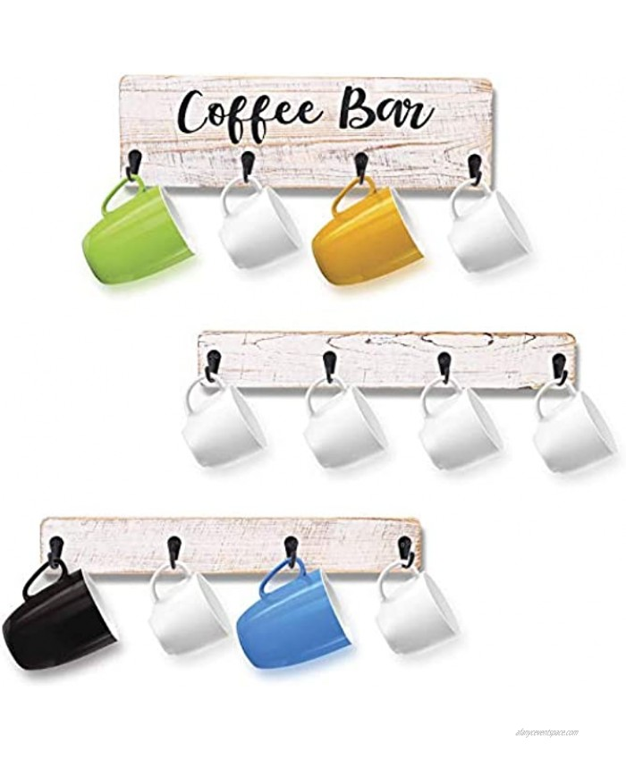 Coffee Mug Holder,Wall Mounted Coffee Mug Rack,Rustic Wood Cup Organizer with 12 Hooks,Kitchen Display Storage and Collection White