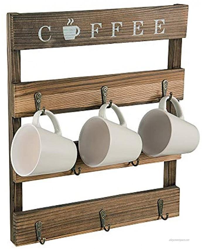 "Home Kitchen Display Storage and Collection Coffee Mug Holder Coffee Mug Tree Rustic Brown Wooden Mug Holder 15"" x 17.4"