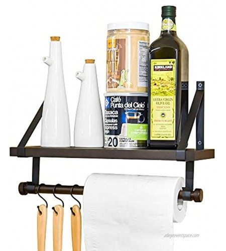Labcosi Coffee Mug Holder Wall Mounted Rustic Coffee Cup Shelf and Rack with Hooks for Kitchen Organize